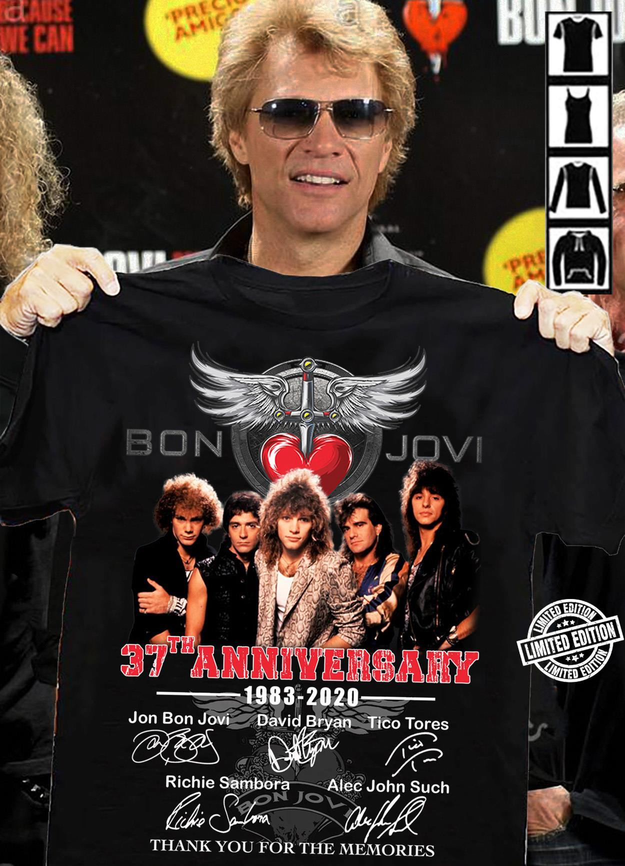 Bon jovi 37th anniversary 1983-2020 all signature thank you for the memories shirt