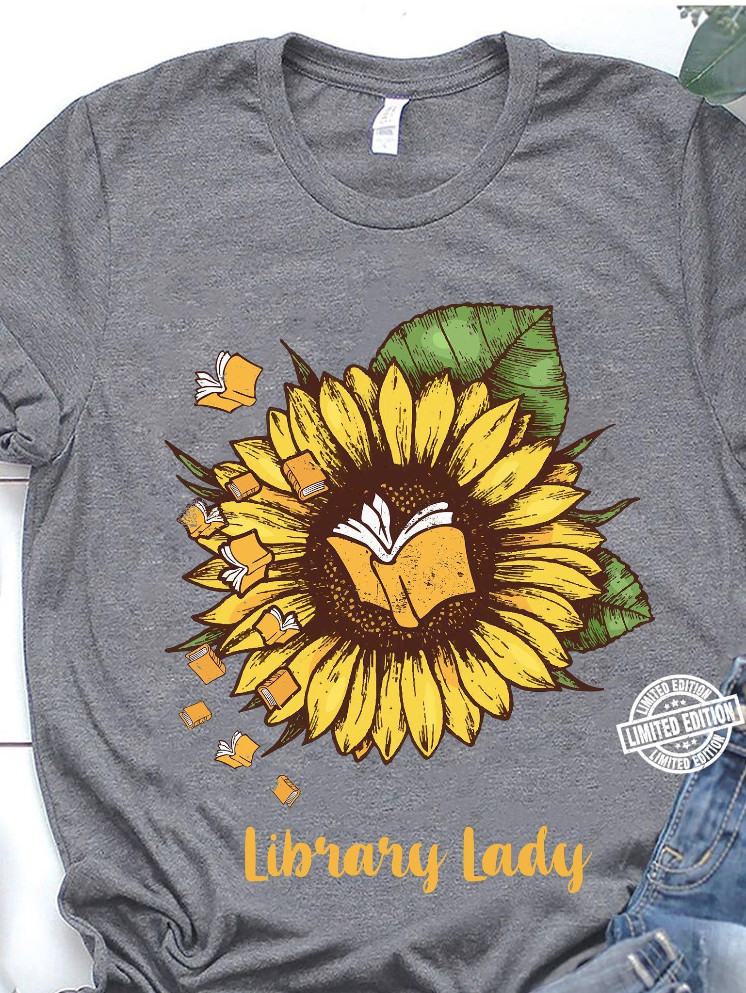 Sunflower library lady shirt